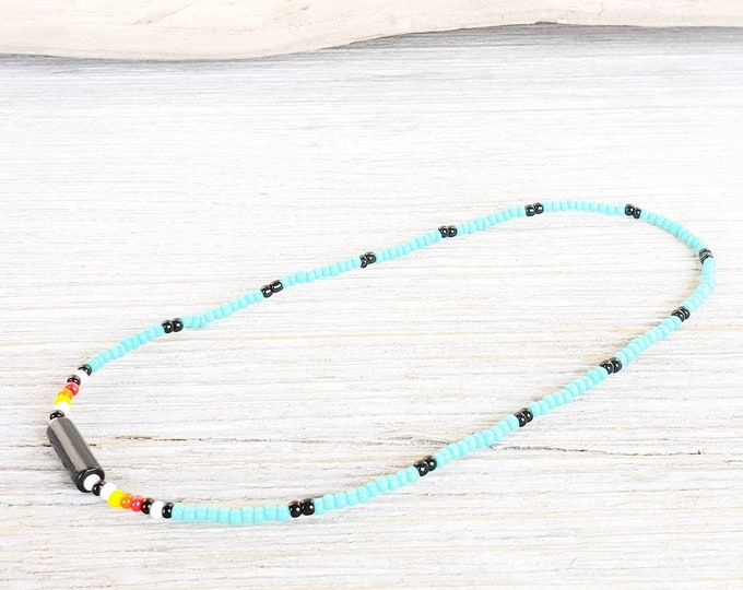 Stretch Womens Ankle Bracelet, Beaded Anklet in a Native American Indian Style, Anklets for Women, Beach anklet, Summer Jewelry