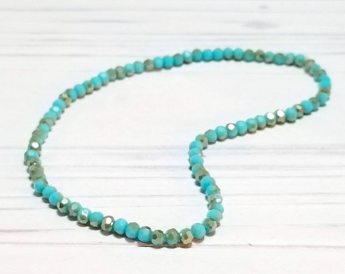 Dainty Aqua Crystal Ankle Bracelet for Women, Tiny Summer Stacking Jewelry, Barefoot Beach Anklets for Girls, Anklet for Women
