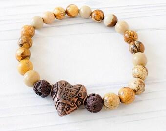 Essential Oil Diffuser Bracelets for Women, Lava Bead Bracelet, Steampunk Heart Bracelet, Jasper Bracelet, Jasper Aromatherapy Bracelet