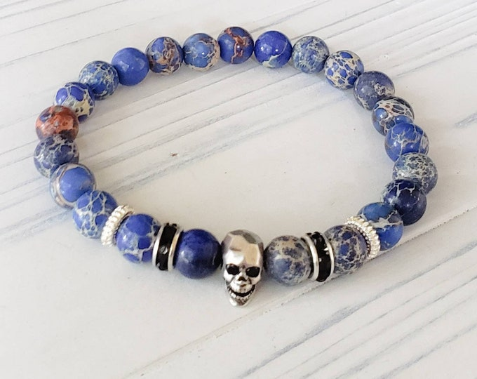Skull Bracelets for Men, Jasper Bead Bracelet, Unisex Bracelet, Skull Bracelet, Mens Bracelet, Goth Bracelet, Rock and Roll Jewelry