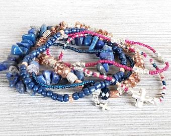 Hippie Chic Stack Bracelets for Women, Set of 6, Cross Jewelry, Boho Style Jewelry, Bohemian Bracelets, Mixed Metal Bracelets