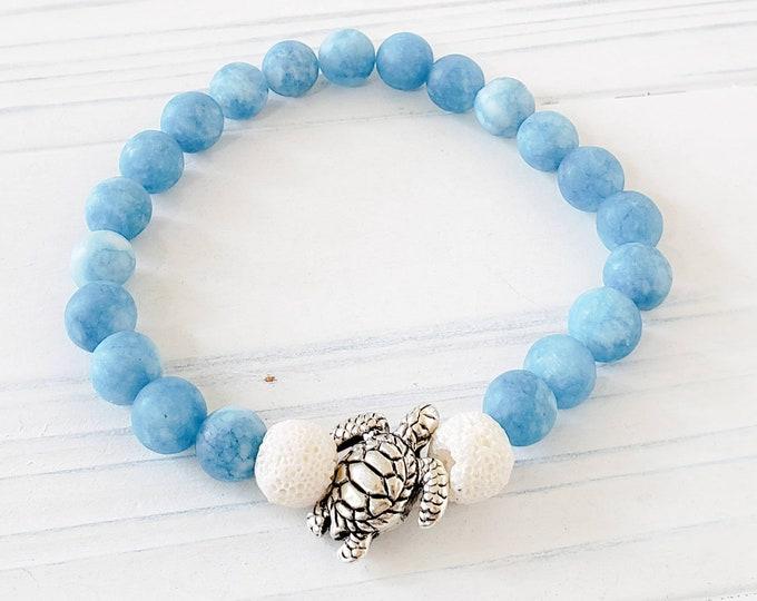 Essential Oil Diffuser Bracelets for Women, Lava Bead Bracelet, Sea Turtle Bracelet, Jade Bracelet, Jade Aromatherapy Bracelet