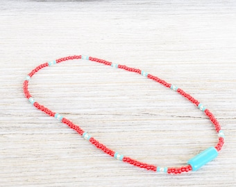 Turquoise Anklet with Czech Glass Seed Beads and Turquoise Gemstone Beads is a great Beach Anklet.
