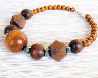 Chunky Choker Necklace for Women, Boho Choker, Big Choker, Crystal Necklace for Women, Wood Bead Necklace