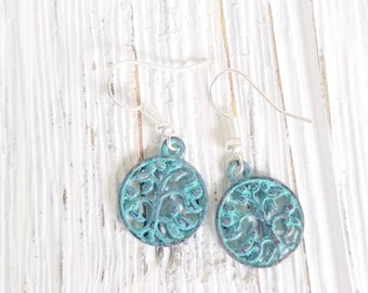 Boho Disc Earrings, Drop Earrings for women, Tree of Life round earrings, Patina Dangle Earrings, Boho Style Disc earrings