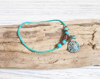 Sand Dollar Beach Anklet for Women, Beach Ankle Bracelet, Ocean Anklet, Summer Anklet,  Beach Jewelry, Gift for Her, Sea Turtle Jewelry