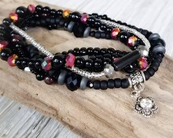 Hippie Chic Stack Bracelets for Women, Earthy Jewelry, Boho Style Jewelry, Bohemian Bracelets, wabi sabi,  maximalist