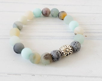 Essential Oil Diffuser Bracelets for Women, Lava Bead Bracelet, Beach Bracelet, Amazonite Bracelet, Amazonite Aromatherapy Bracelet