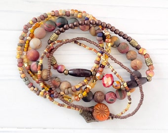Hippie Chic Stack Bracelets for Women, Earthy Jewelry, Boho Style Jewelry, Bohemian Bracelets, Burnt Orange Jewelry, American Jewelry