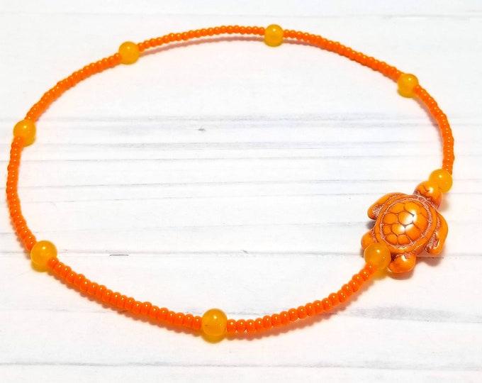 Orange Sea Turtle Ankle Bracelet, Seed Bead Anklet for Women, Beach Anklet, Summer Anklet,  Ocean Anklet, Beaded Anklet, Sea Turtle Anklet