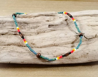 Native American Style Anklet for Women, Stretch Seed Bead Ankle Bracelet, Indian Jewelry for Girls, Gift for Her