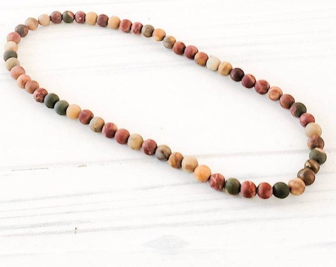 Gemstone anklet for women, beach ankle bracelet, earthy anklet, 4mm natural beads, jasper ankle bracelet for women