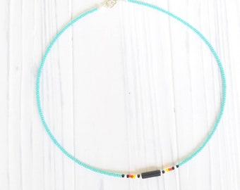 Native Choker, Native Jewelry, Native Necklace, Choker Necklace, Beaded Choker, Choker for Girls,  Howlite Choker, Turquoise Jewelry
