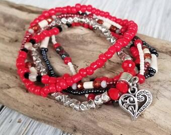 Multi Strand Beaded Bracelets for Women - Multi Strand Boho Bracelet - Seed Bead Bracelets - Bracelet Set