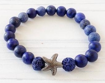 Essential Oil Diffuser Bracelets for Women, Lava Bead Bracelet, Gemstone Bracelet, Lapis Lazuli Bracelet, Starfish Aromatherapy Bracelet
