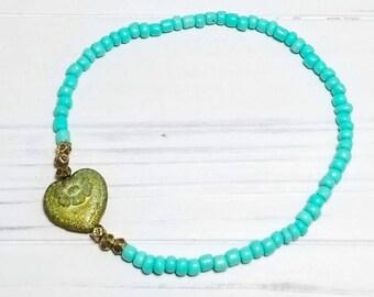Boho Ankle Bracelet for Women, Boho Anklet for Women, Heart Anklet, Beach Ankle Bracelet, Summer Anklet, Aqua Ankle Bracelet, Gift for Her
