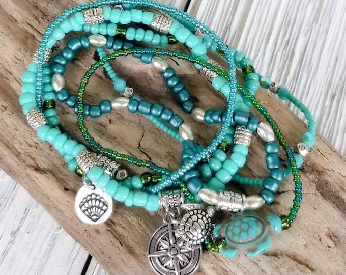 Beach Stack Bracelets for Women - Beach Jewelry - Beach Charm Bracelets - Boho Style Jewelry - Boho Bracelet - Seed Bead Bracelets