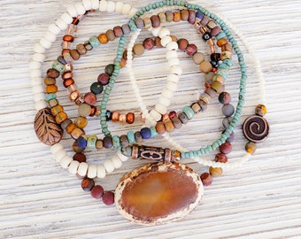Hippie Chic Stack Bracelets for Women, Earthy Jewelry, Boho Style Jewelry, Bohemian Bracelets, Rustic Jewelry, American Jewelry