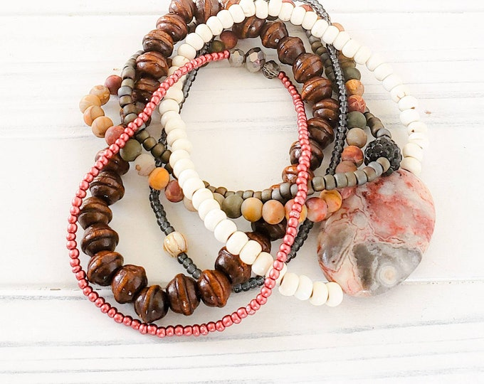 Hippie Chic Stack Bracelets for Women, Earthy Jewelry, Boho Style Jewelry, Bohemian Bracelets, Statement Jewelry, American Jewelry