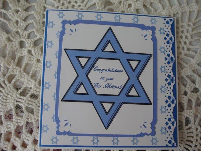 Bar Mitzvah Card, Jewish Celebration, Religious Event, For teenage Boy, Birthday, Star of David, Blue and white, Greeting Card, Handmade
