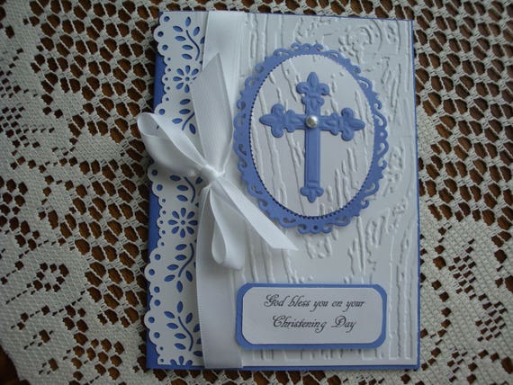 Baptism Card, Christening Card, Religious Event, baby boy, 3 dimensional, cross, blue and white, embossed, greeting card, handmade