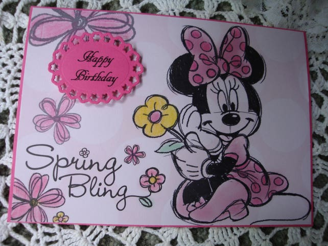 Minnie Mouse Card Disney Birthday Happy For Girls 3 Dimensional