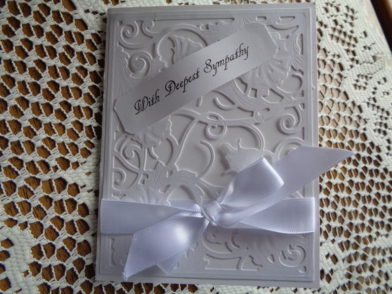 Loss of a Loved One handmade Sorry for your loss greeting card Sympathy Card Grief and Mourning All White With Deepest Sympathy