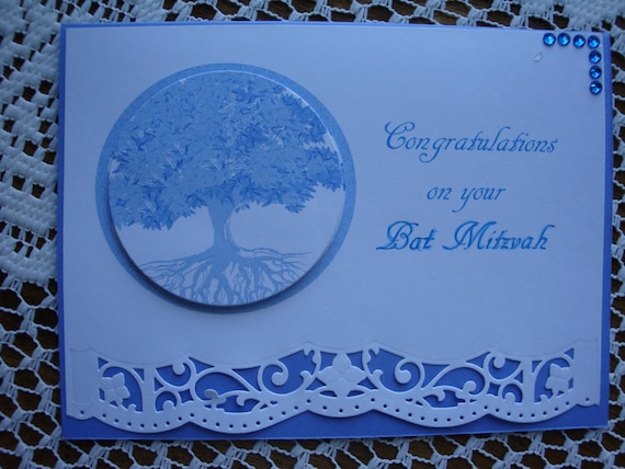 Bat Mitzvah, Jewish Event, Religious Event, 3 dimensional, tree of Life, Birthday, teen girl, blue and white, handmade, greeting card
