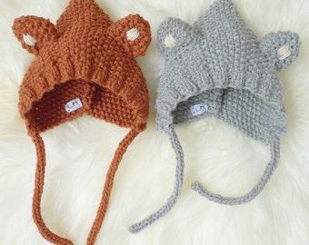 GASPARD Le Petit Renard et LOULOU le Petit Loup - Bonnet béguin en laine - tricot - taille de la naissance à 36 mois