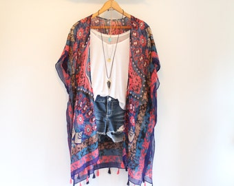Long bohemian kimono * Snowflake mandala pattern * Tassels *