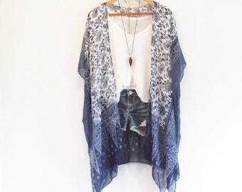 Boho Kimono, Tangled Up In Blue, Bohemian Kimono with Floral Patterns, Cover-up, beachwear, bohemian, summer, kimono, bridal, bridesmaids