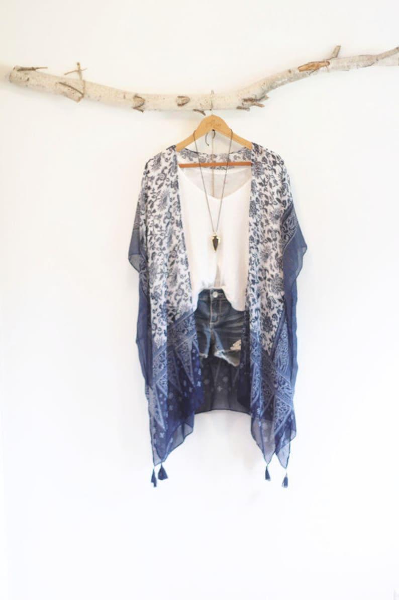 Boho Kimono Tangled Up In Blue Bohemian Kimono with Floral image 0