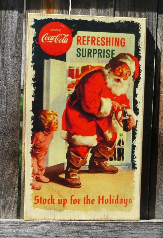 L'ancienne Santa signe - Santa pris furtivement un Soda - Tenture murale Noël