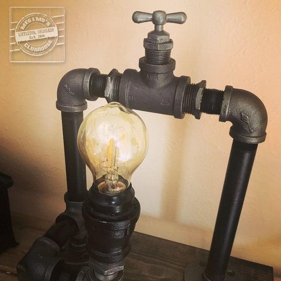 gas pipe lighting chandelier image industrial lamp vintage edison bulb steampunk water etsy