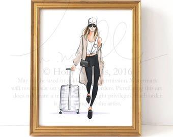 Ready, Set, Jet (Fashion Illustration Print, Travel Girl)