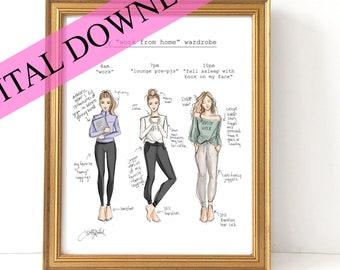 DIGITAL DOWNLOAD Work From Home Wardrobe BLONDE (Instant Printable Fashion Illustration Print)