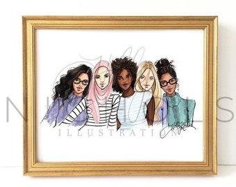 International Women's Day (Fashion Illustration Print) Art Feminist