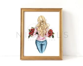 100 Roses (Fashion Illustration Print, Choose your hair color/skintone)