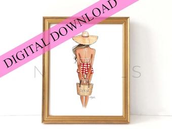 DIGITAL DOWNLOAD Summer Gingham Girl (Instant Printable Fashion Illustration Print)
