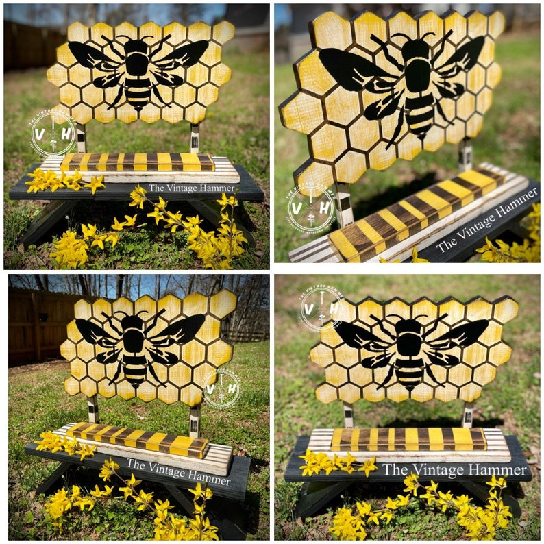 honeycomb wood sign spring decor bee art queen bee stand up sign farmhouse for her welcome carving Honey Bee Sign mini billboard