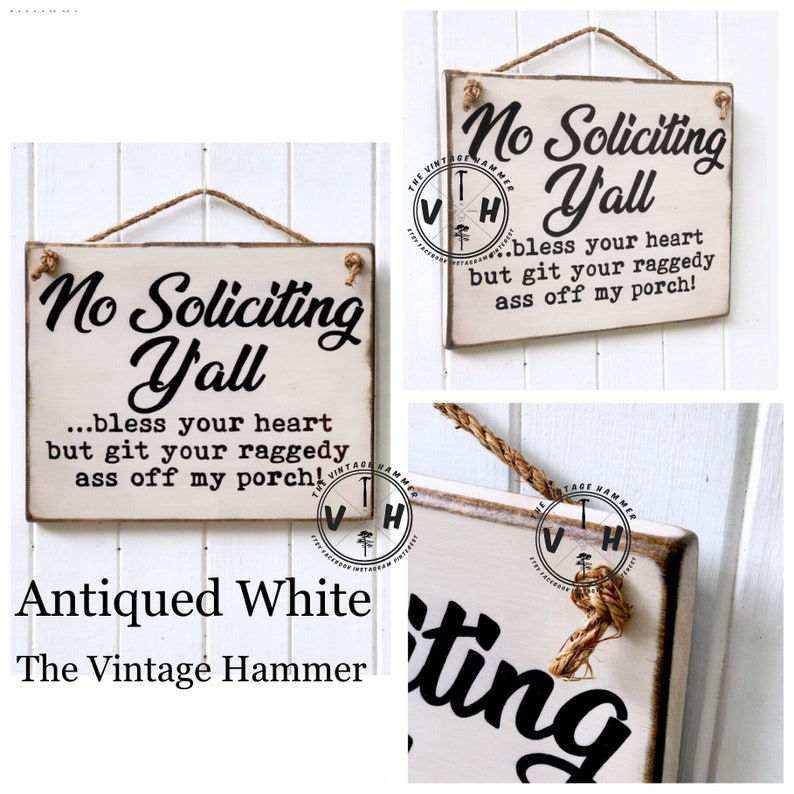 No Soliciting Sign y'all sign southern sign porch sign image 0