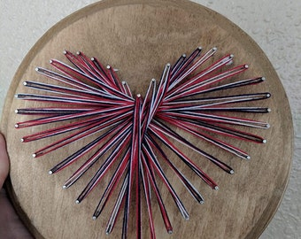 Red, White, and Blue String Art Heart