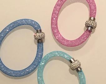 Hand Made With Swarovski Stardust Mesh Bracelet Pink a419f9401
