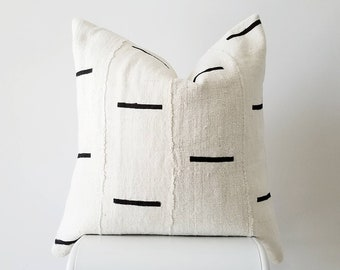 Authentic Mudcloth Pillow, Mali Bogolan, Cream, Black, Horizontal Lines