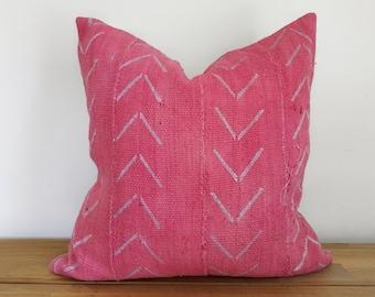 Authentic Medium Pink Arrow Mudcloth Pillow Cover