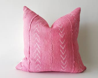 Authentic Pink Arrow Mudcloth Pillow Cover