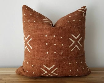 Authentic Mudcloth Pillow, Vintage Mali Bogolan, Brown / Burnt Sienna, Off-White, Cross, Dots, Geometric