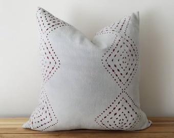 Authentic Mudcloth Pillow, Light Blue,  Blue/Grey, Light Grey, Burgundy, Diamond, Dots, Geometric