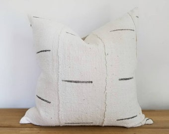Authentic Mudcloth Pillow, Mali Bogolan, Cream,  Gray, Grey, Thin / Skinny Lines