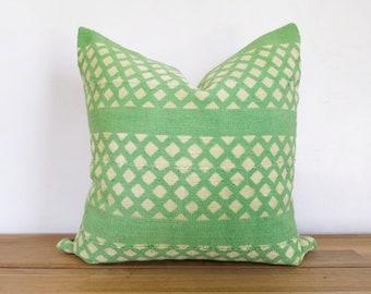 Authentic Green Mudcloth Pillow Cover, Light Green, Light Yellow/Cream Diamonds